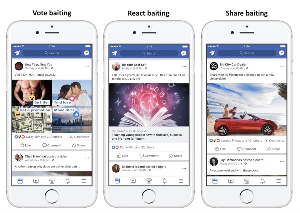 facebook, engagement bait, clickbait, spam